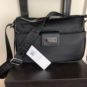 Calvin Klein crossbody logo strap nylon handbag